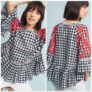 Anthropologie Pankaj & Nidhi Gingham Swing Tunic